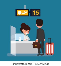 Businessman check-in desk with airline