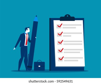 Businessman checklist on the clipboard. Concept business illustration. Vector