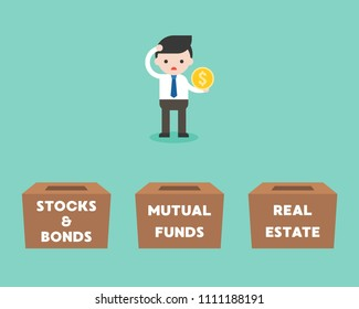 Businessman choosing box for investment between stock and bonds, mutual funds, real estate, flat design business concept