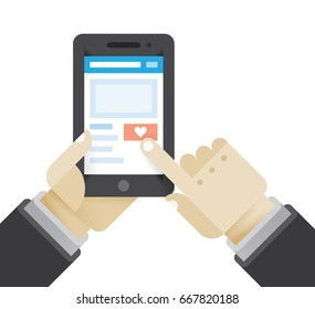 Businessman click love or like social network button holding mobile phone. Idea - New chat messages, article feedback appreciations, social networking in modern business negotiations.