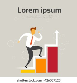 Businessman Climb Financial Bar Graph Business Man Growth Chart Flat Vector Illustration