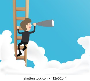 businessman climb ladder into sky and use telescope looking for something concept of success