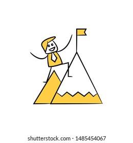 businessman climb on mountain flag icon yellow stick figure