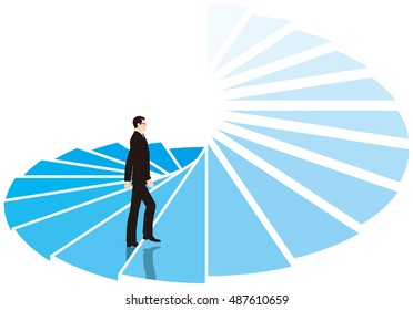 Businessman climb the spiral staircase. Business image.