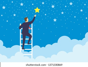 Businessman climbed high up stairs to reaching out for the stars, Growth of business concepts and awards of success, Flat design vector illustration