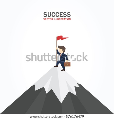 Businessman climbed to the top of the mountain and enjoys success. Success concept.