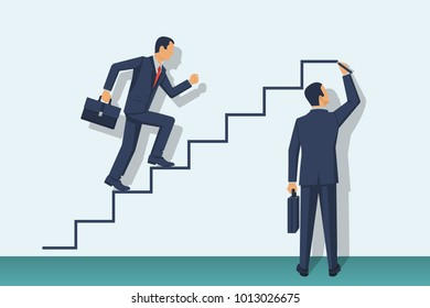 Businessman is climbing career ladder. Human hand drawing stairs close up. Concept of business development. Vector illustration flat design. Isolated on white background. Step by step.