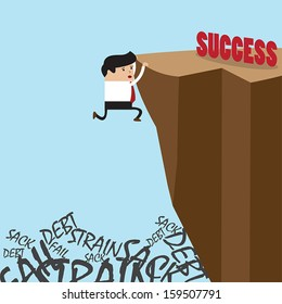 Businessman in climbing the cliff to success choice or failure, VECTOR, EPS10