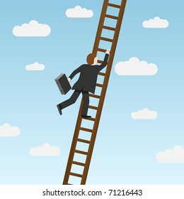 Businessman climbing ladder, carrying briefcase. Vector illustration