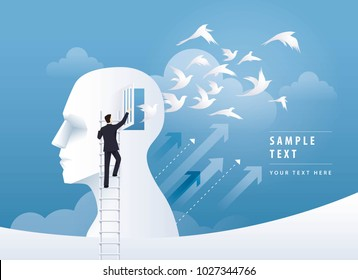 Businessman Climbing Ladder to open the door, Human head with birds flying from head, freedom and relax mind, Creative ideas, emotions or psychology concept, Think outside the box Vector illustration.