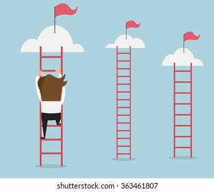 businessman climbing the ladder for red flag, business success concept cartoon vector illustration