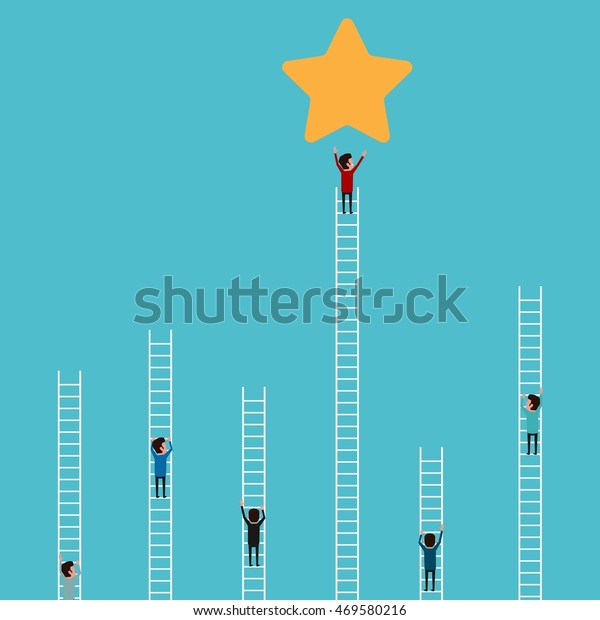 Businessman climbing ladder to star and success. Competition and business concept. Cartoon Vector Illustration.