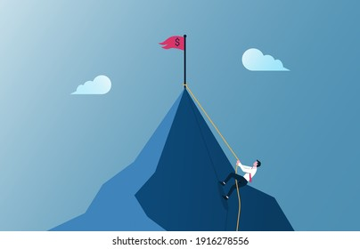 Businessman climbing mountain illustration. Business motivation and effort in career concept.