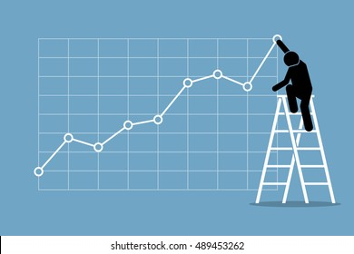 Businessman climbing up on a ladder to adjust an uptrend graph chart on a wall. Vector artwork depicts financial success, bullish stock market, good sales, profit, and growth.