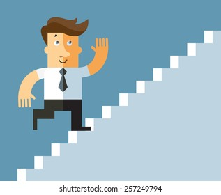 businessman climbing on staircase for money. Business flat vector illustration.
