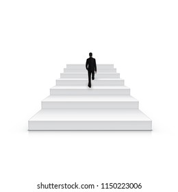 Businessman Climbing Stairs Be The First Concept. EPS10 Vector