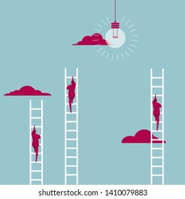 Businessman climbs the ladder. Isolated on blue background.