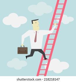 Businessman climbs up the Ladder - Vector