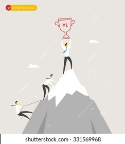 Businessman climbs the mountain, cup in hand. Winning success the hard way.  Business concept. Vector eps10