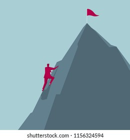 Businessman climbs the mountain,The pennant is inserted at the top of the mountain.