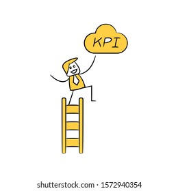 businessman climbs on stair and KPI cloud yellow stick figure