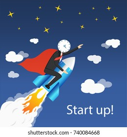 Businessman with clock head flying in sky like superhero in red cloak on rocket. Vector illustration of rocketman start up boost concept