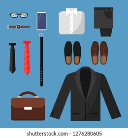 Businessman clothes. Fashion mens items pants shirt shoes watches tie bag vector top view flat illustrations