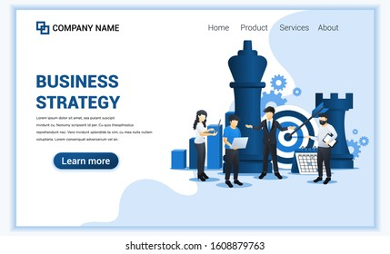 Businessman and co workers are planning a business strategy concept. Business metaphor, Leadership, Target achievement. Flat vector illustration