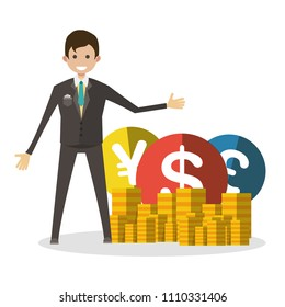 Businessman with coins vector flat isolated illustration concept