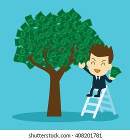 businessman collecting money from money tree. interest and dividend concept.