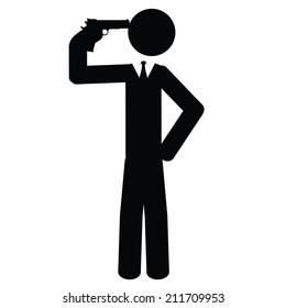 A businessman commits suicide. It is a stick figure vector. EPS10