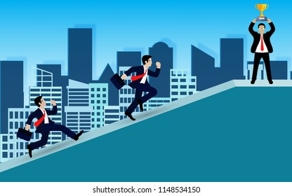 Businessman competition on up the slope. go to the goal of financial business success and effort go to target growth. creative idea. leadership. vector illustration