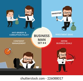 Businessman concept collection. Corruption, investment ideas, goals, confident management