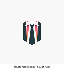 Businessman concept, logo, shirt and tie in a shape of shield vector symbol.
