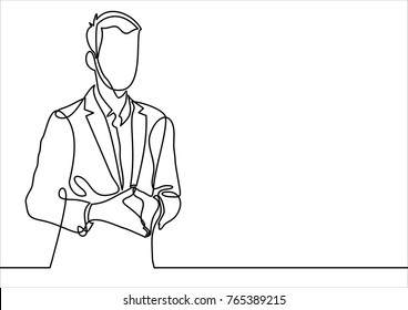 businessman  in conference hall or seminar room- continuous line drawing