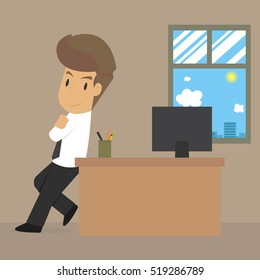 businessman with confidence in the work. vector