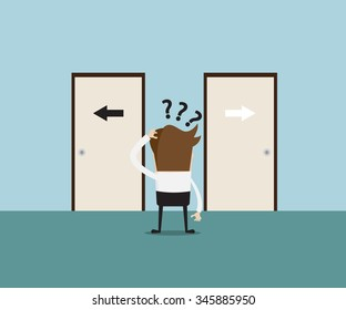 businessman confused at front of door, for choosing the right or left door,  business concept cartoon vector illustration