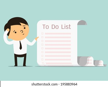 Businessman confused with long paper note with to do list, business concept in a lot of things to do. You can write your text or design in copy space.