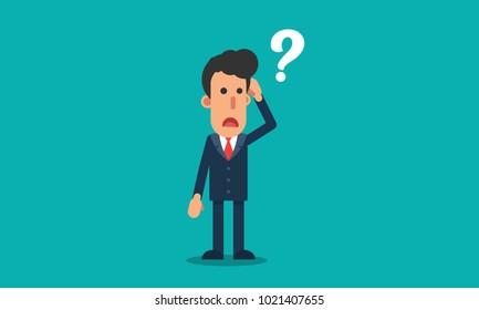 businessman confused with question mark cartoon character vector