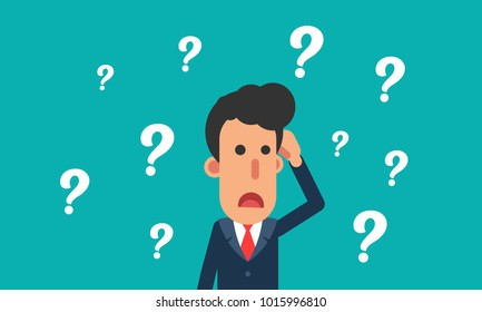 Businessman confused, businessman thinking with question mark