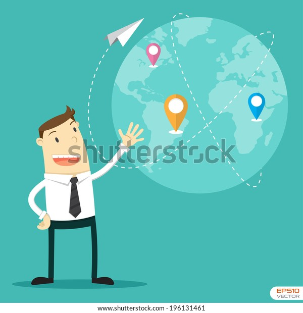 Businessman with connection plan. Vector illustration