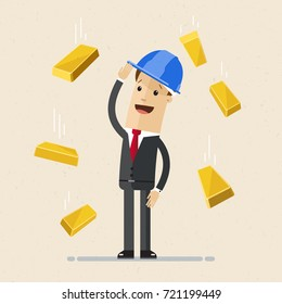 Businessman with a construction helmet in head and gold bars are falling on him. Vector, illustration, flat