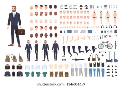 Businessman constructor or DIY kit. Set of male office worker or clerk body parts, postures, clothing isolated on white background. Front, side and back views. Flat cartoon vector illustration
