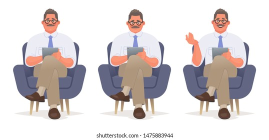 Businessman or consultant is sitting in a chair with a tablet in his hands. Reads and talks. Psychologist character. Vector illustration in cartoon style