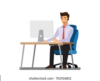 businessman consulting , concepts of client services and communication. call center service job character.,Vector illustration cartoon character