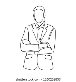 Businessman continuous line vector illustration