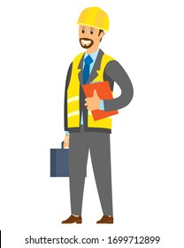 Businessman or contractor holding paper report and handbag, smiling manager or engineer wearing helmet and vest, building industry, worker vector
