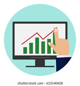 The businessman controls the profit growth graph on the monitor. Flat design, vector illustration, vector.