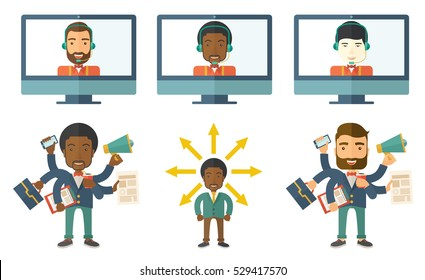 Businessman coping with multitasking. Businessman having skills of multitasking. Businessman doing multiple tasks. Concept of multitasking. Set of vector illustrations isolated on white background.