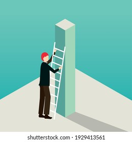 businessman courageous climb ladder success